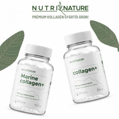 Nutri Nature tengeri halkollagén kapszula és marha kollagén kapszula, hidrolizált (peptid) kollagént tartalmaz.