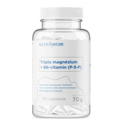Nutri Nature - Tripla magnézium + B6-vitamin (P-5-P) - 90db