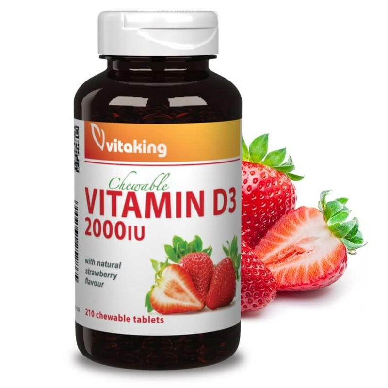 Vitaking D3-vitamin eper ízű rágótabletta 210 db