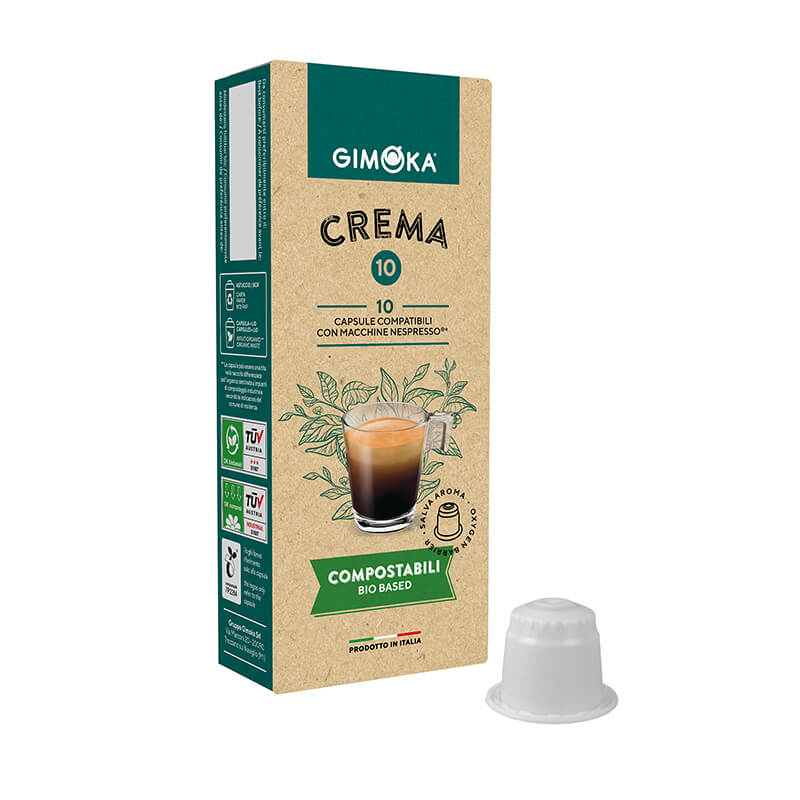Gimoka Crema nespresso kávékapszula, komposztálható kávékapszula, 10db nespresso kompatibilis kávékapszula