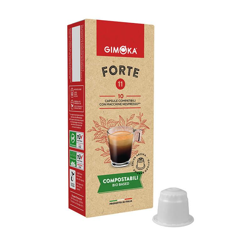 Gimoka Forte nespresso kávékapszula, komposztálható kávékapszula, 10db nespresso kompatibilis kávékapszula