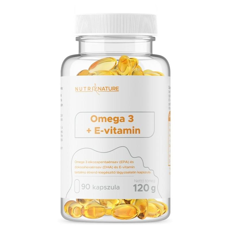 Nutri Nature - Omega 3 halolaj + E-vitamin - 90 kapszula