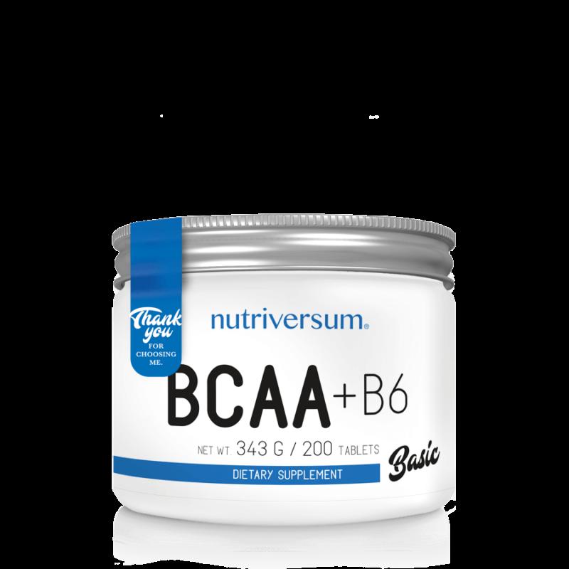 Nutriversum BCAA tabletta, 200db BCAA tartalmú tabletta, B6 vitaminnal kiegészítve.