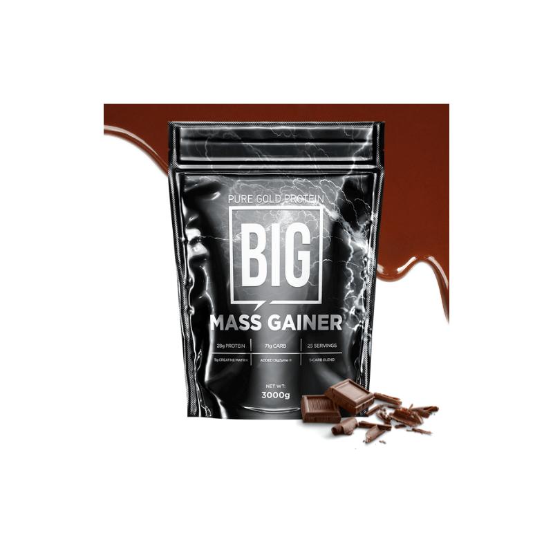 Pure Gold Protein BIG Mass Gainer tömegnővelő fehérjés italpor, csokoládé ízű - 3 kg